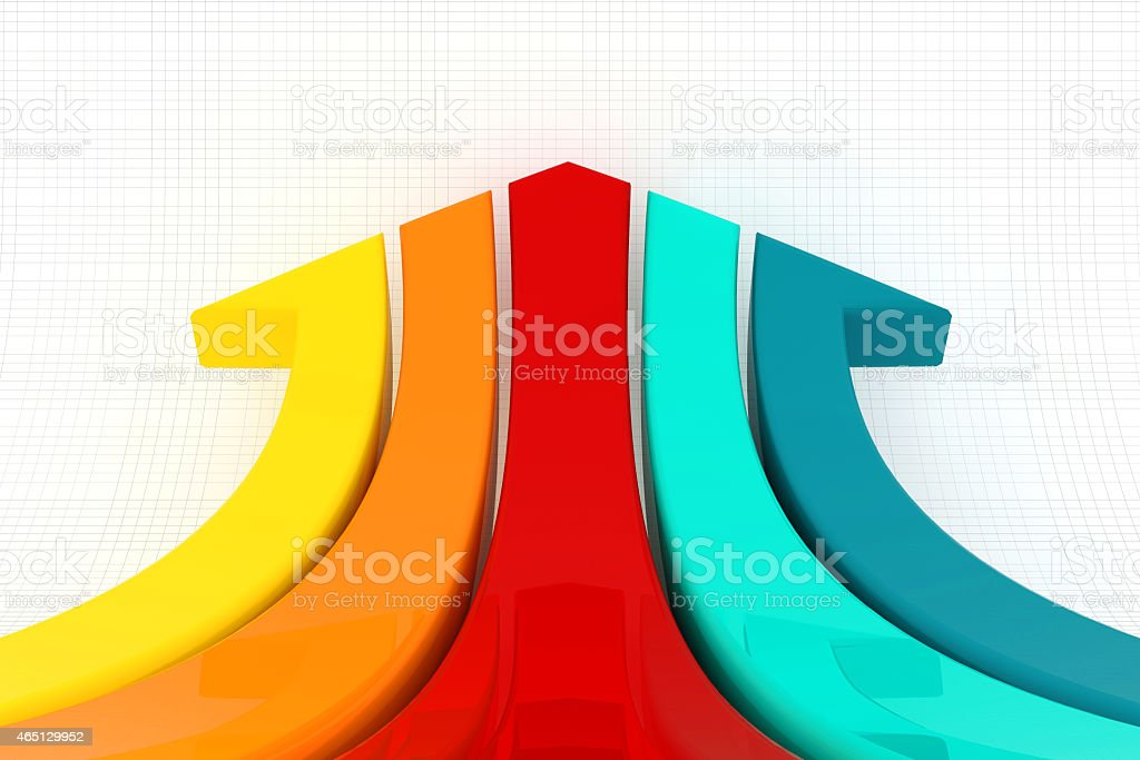 Colored stripes that make an arrow on lined background stock photo