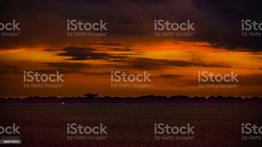 Colored sunset stock photo