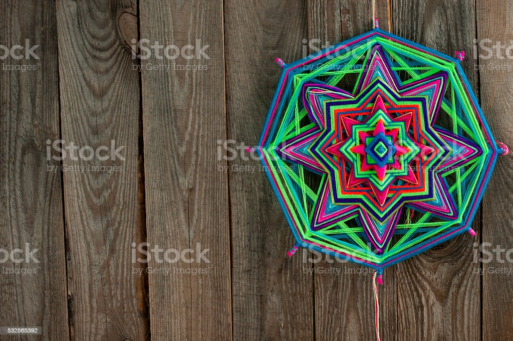 colored thread mandala stock photo