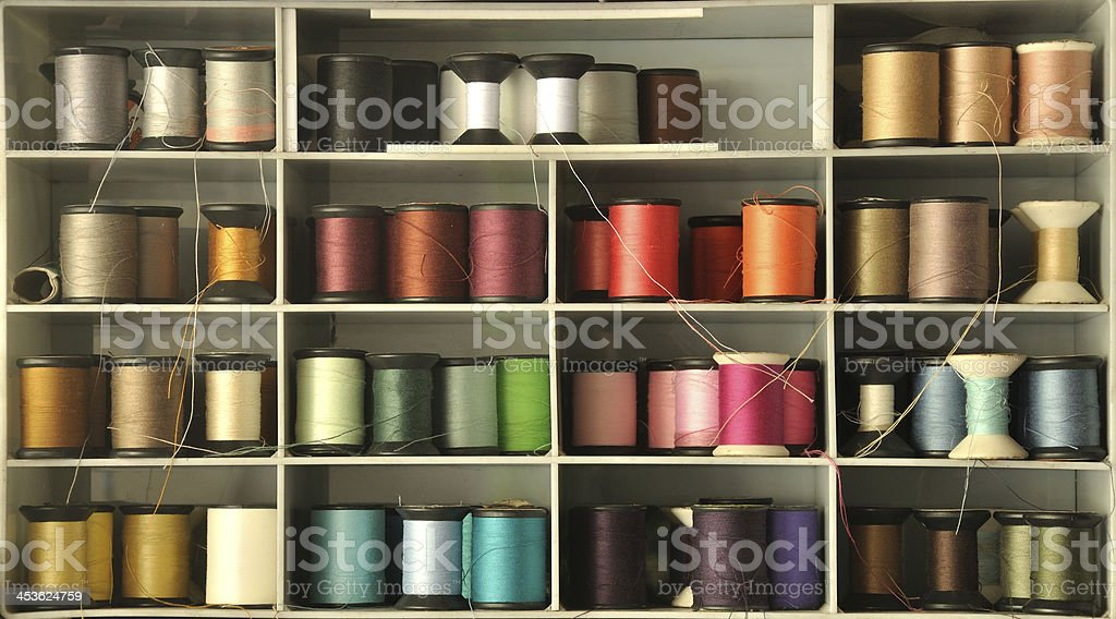 colored thread on shelf royalty-free stock photo