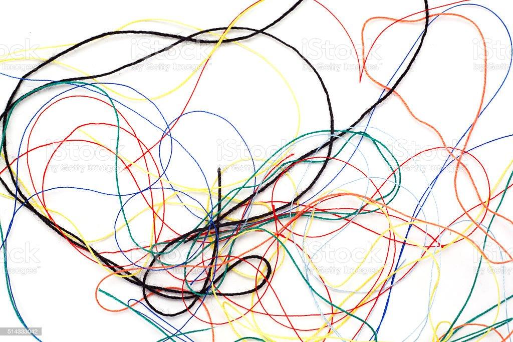 Colored thread tangled stock photo