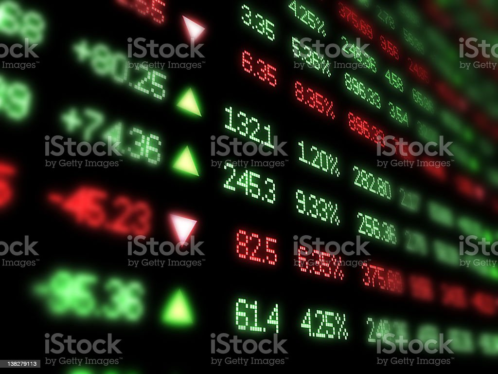 Colored ticker board on black stock photo