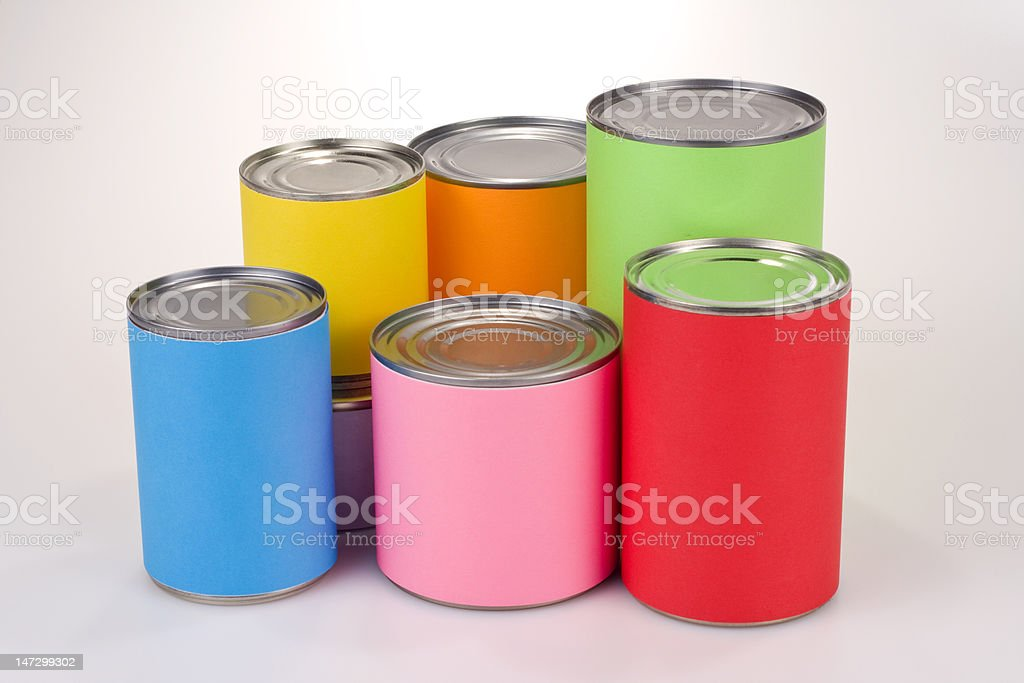 Colored Tin Cans royalty-free stock photo