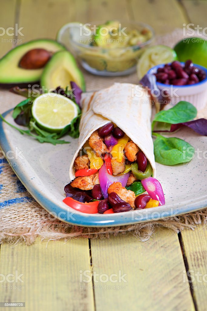 colored tortilla wrap food photography and stylist stock photo