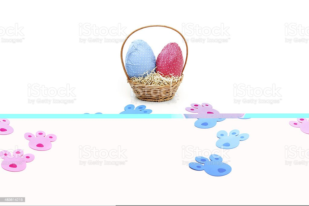 Colored tracks for Easter eggs hunt royalty-free stock photo