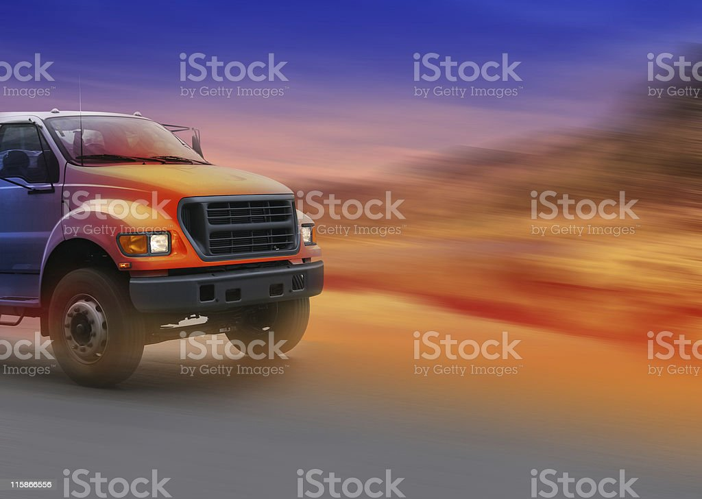 Colored truck high speed royalty-free stock photo