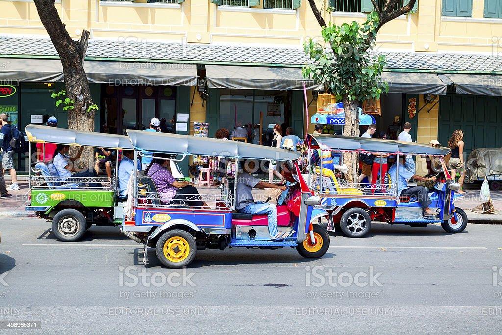 Colored tuk-tuks in Bangkok royalty-free stock photo