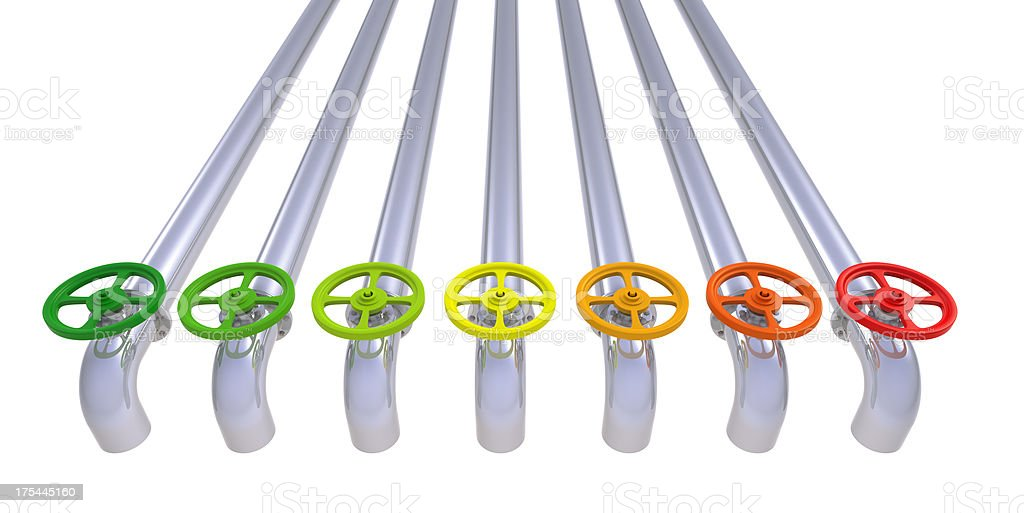 Colored valves with pipelines royalty-free stock photo
