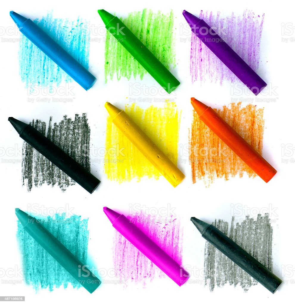 colored vax pencil stock photo
