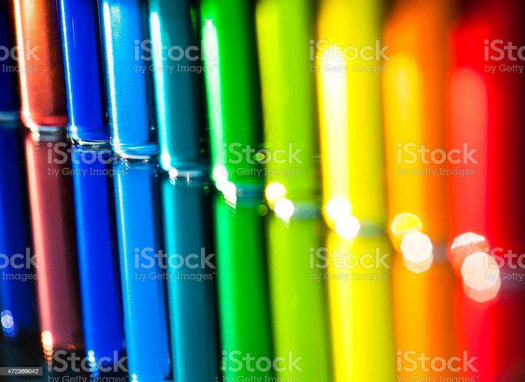 Colored Water in small Glass vials stock photo