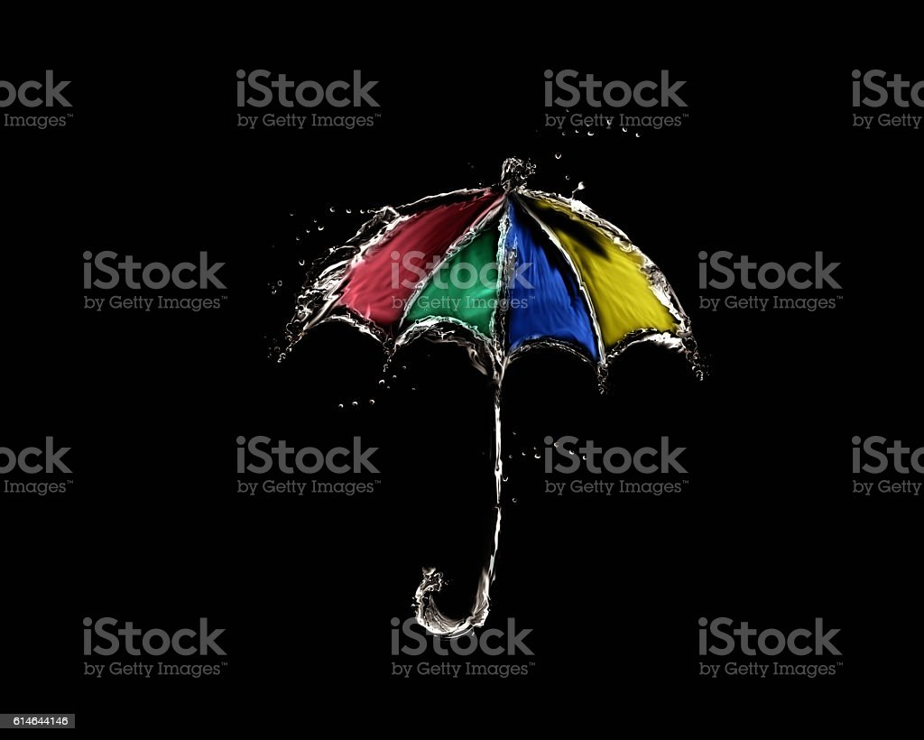 Colored Water Umbrella on Black royalty-free stock photo