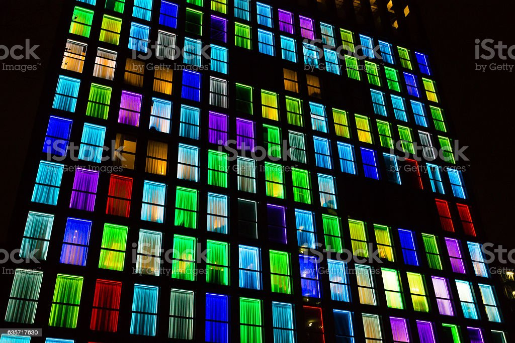 Colored windows texture. Neon light background stock photo