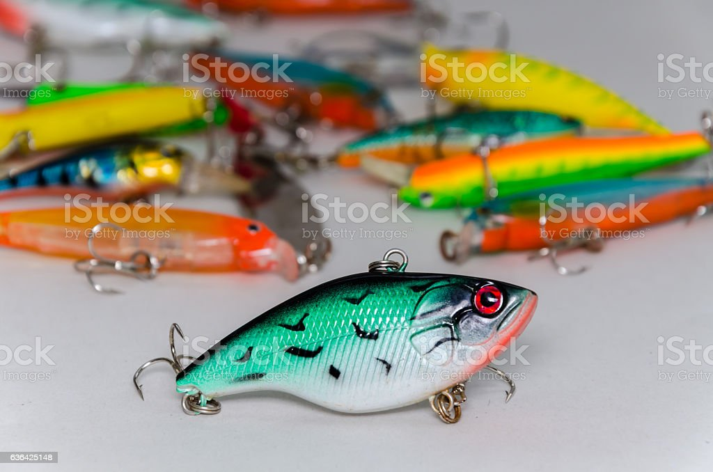 colored wobblers for fishing stock photo