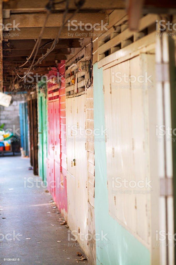 Colored wooden doors stock photo