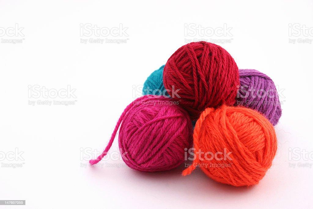 Colored wool balls stock photo