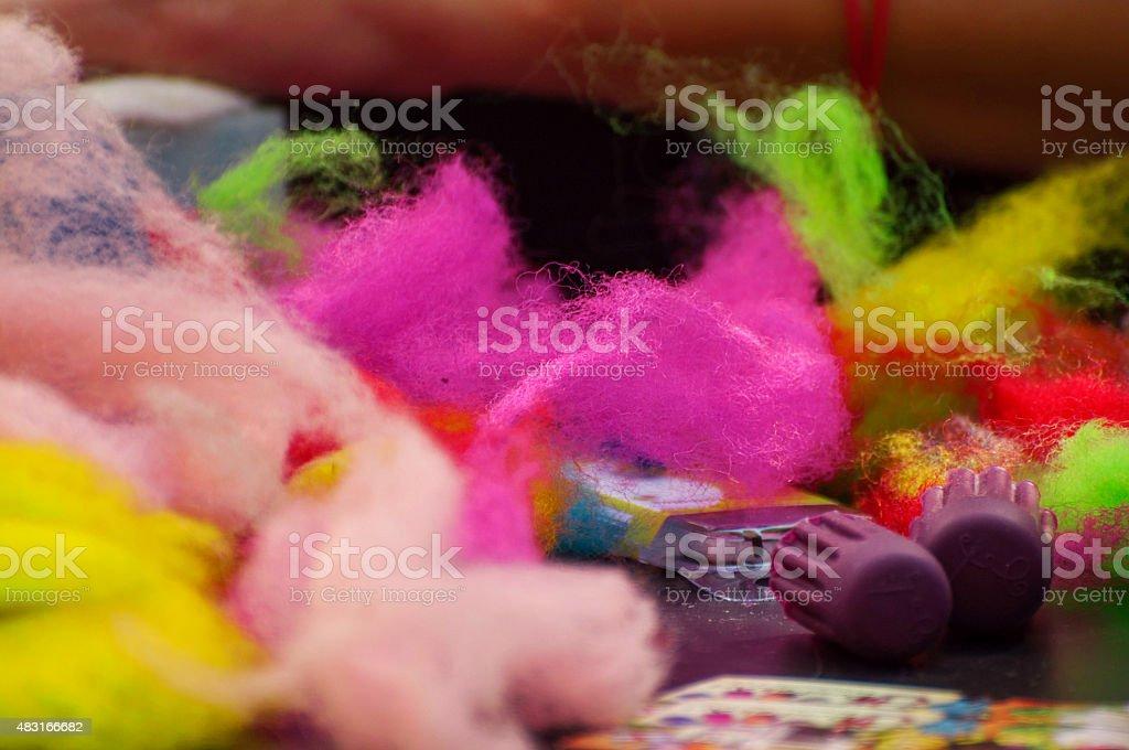Colored Wool Raw felt art stock photo