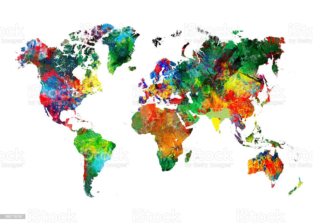 Colored World Map XXXL stock photo