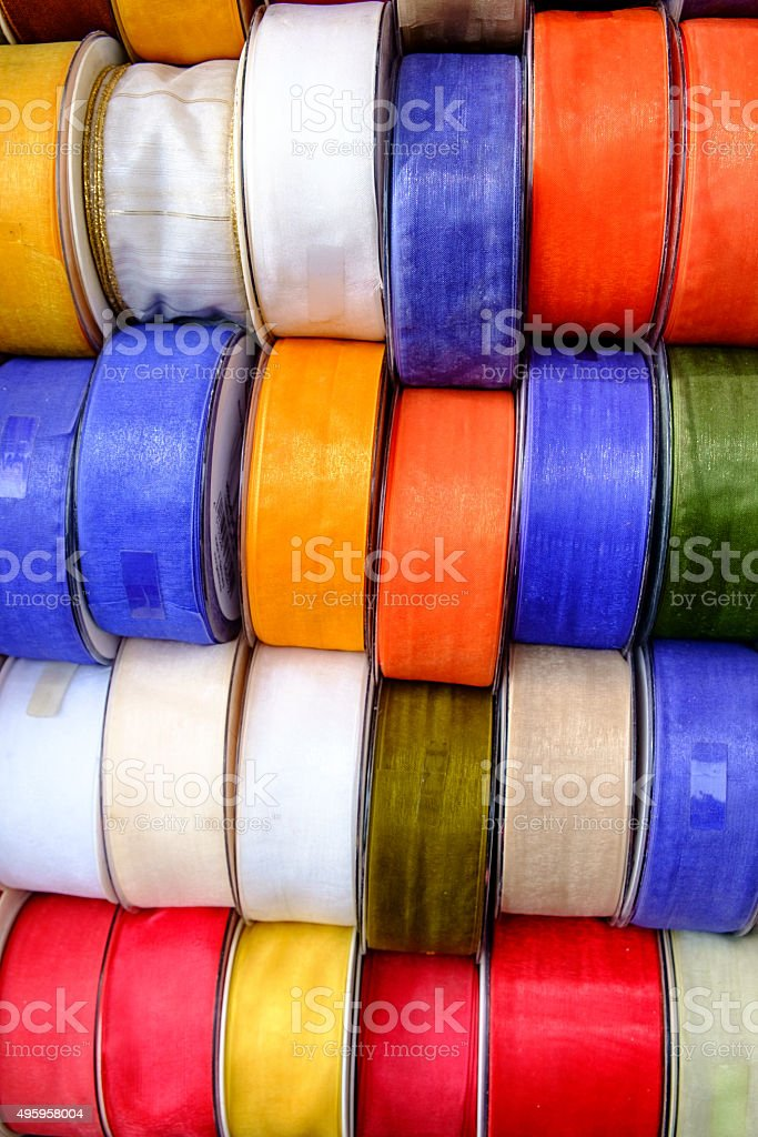 colored wrapping ribbons stock photo