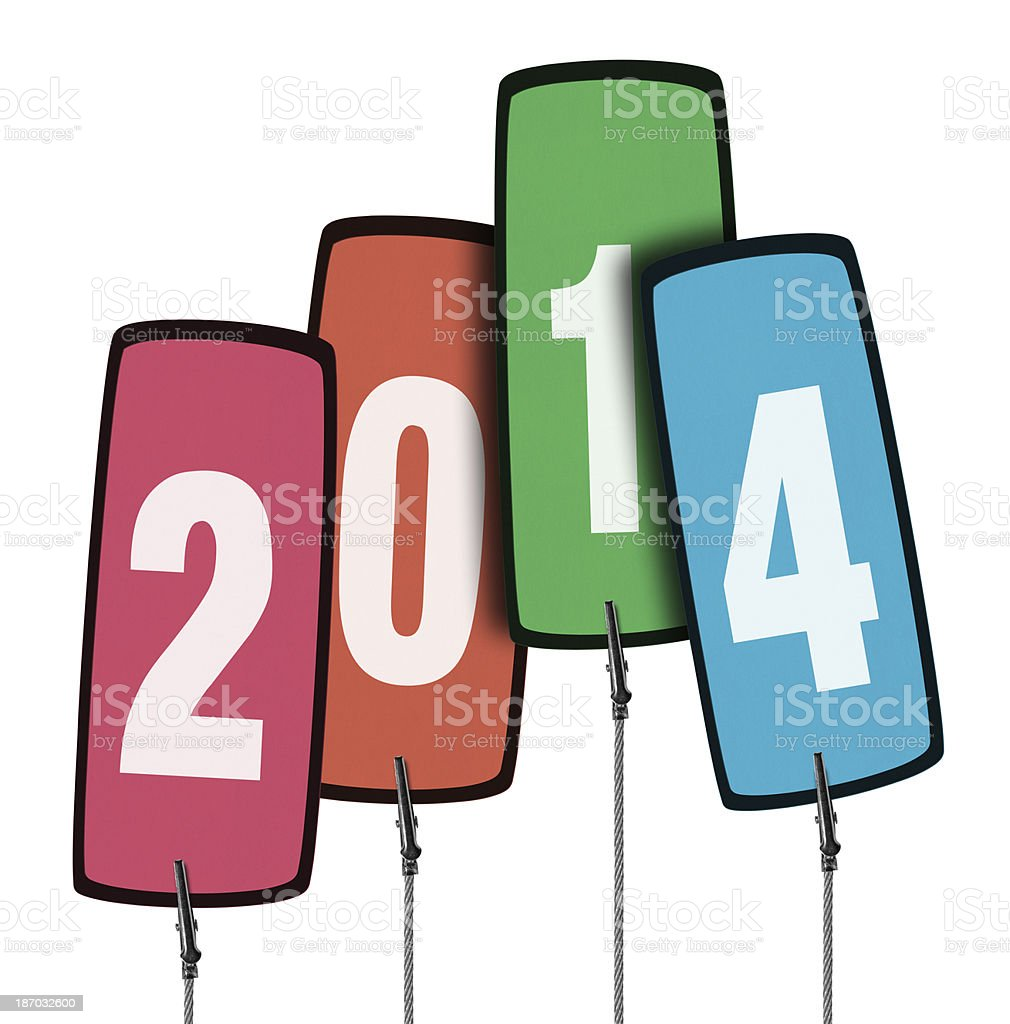 Colorful 2014 Tag  in Wire Clamp 4 (Clipping Path) royalty-free stock photo