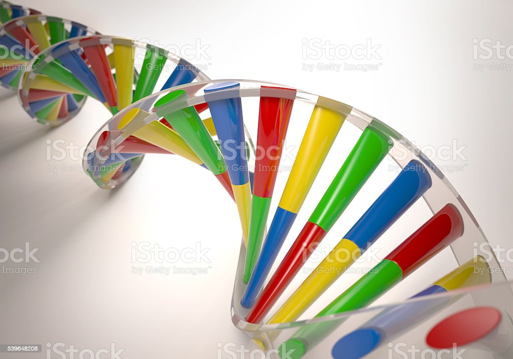 Colorful 3D DNA stock photo