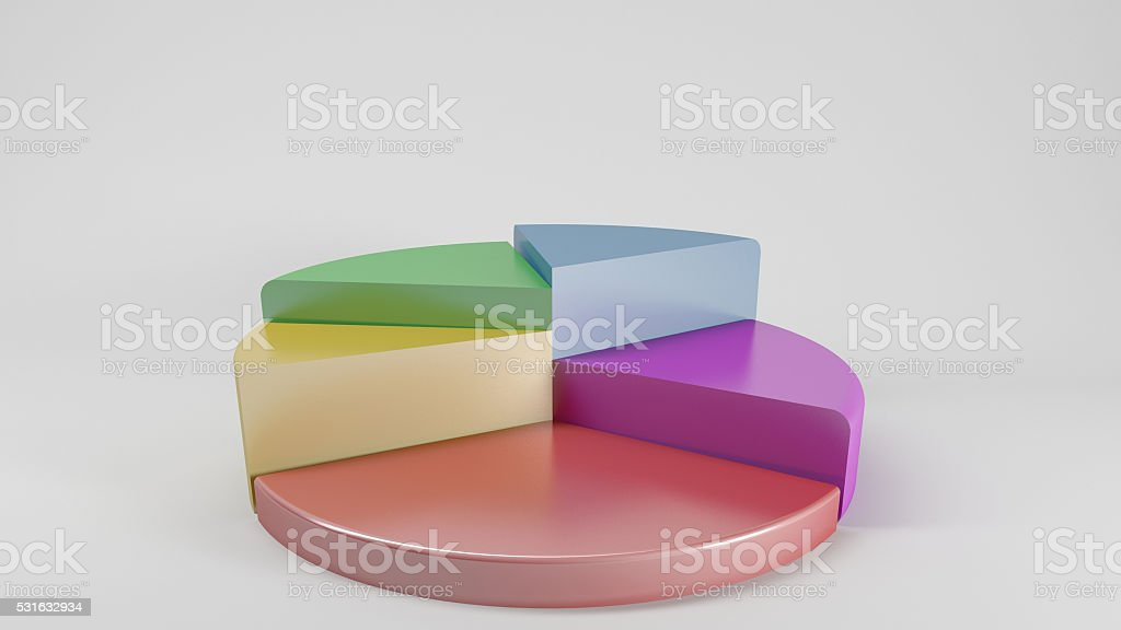 colorful 3d pie chart graph stock photo