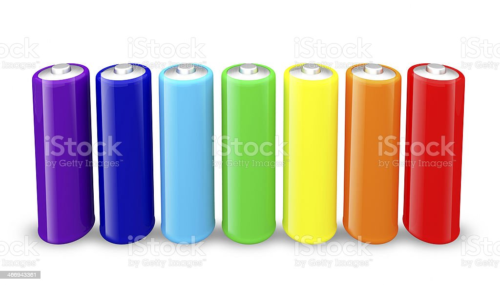 Colorful AA size batteries isolated on white background. royalty-free stock photo