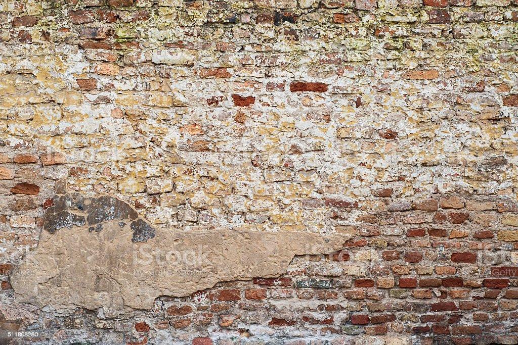 colorful abandoned  brick  wall stock photo