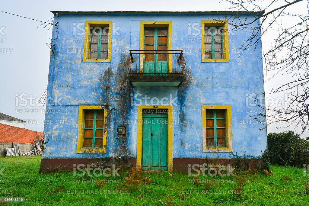Colorful abandoned house stock photo
