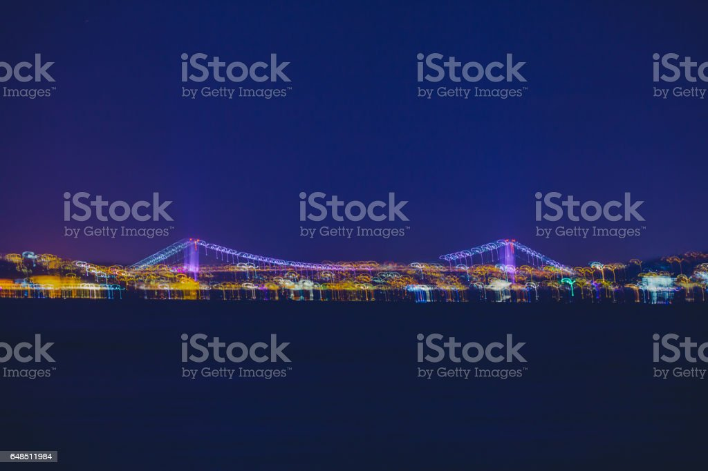 Colorful abstract city night lights of Istanbul stock photo
