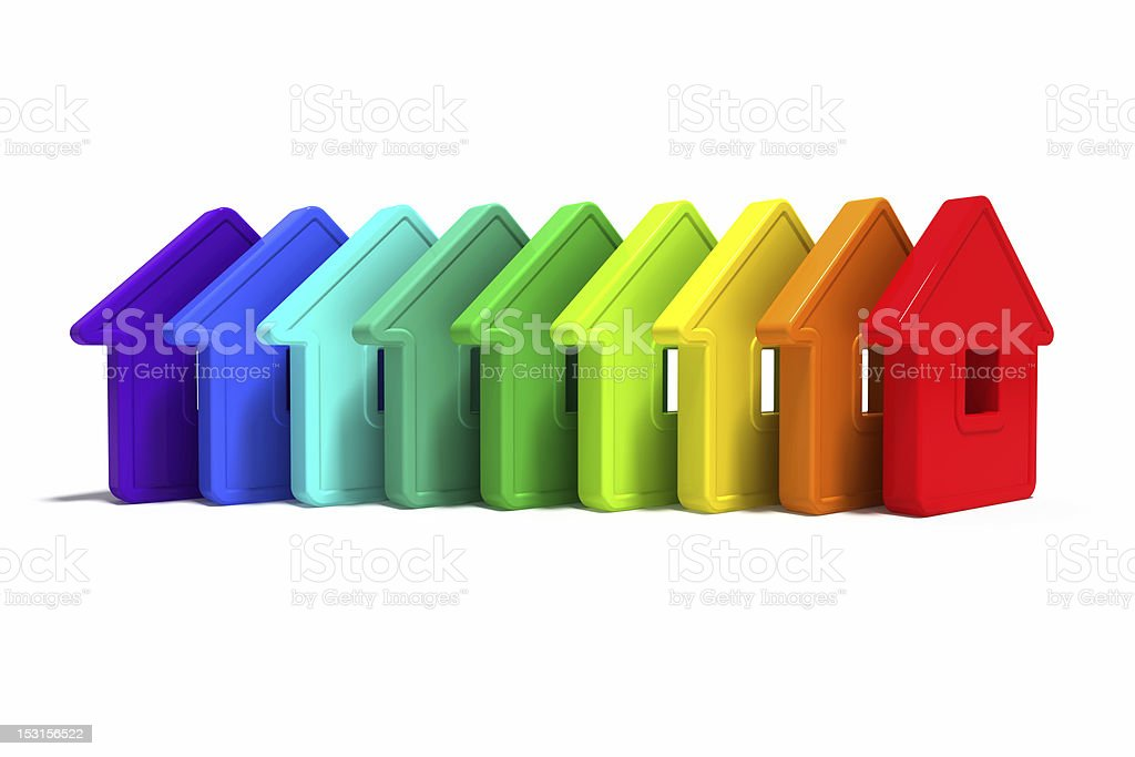 Colorful Abstract group of homes lined in a row stock photo
