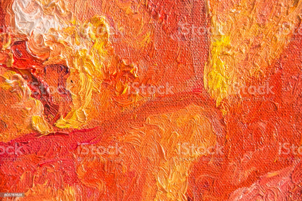 Colorful abstract texture, oil painting on canvas, Red texture, stock photo