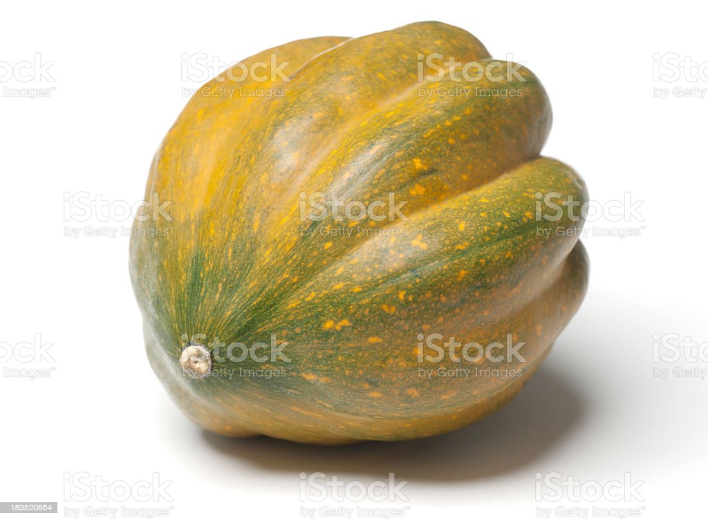 Colorful Acorn Squash isolated on White Background with Shadow royalty-free stock photo