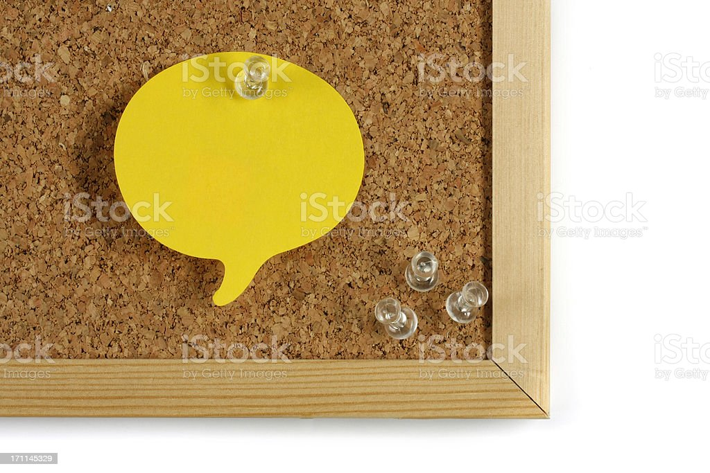 colorful adhesive note on cork board royalty-free stock photo