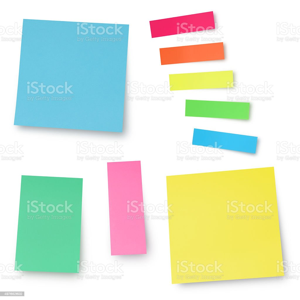 Colorful Adhesives Notes (with path) stock photo