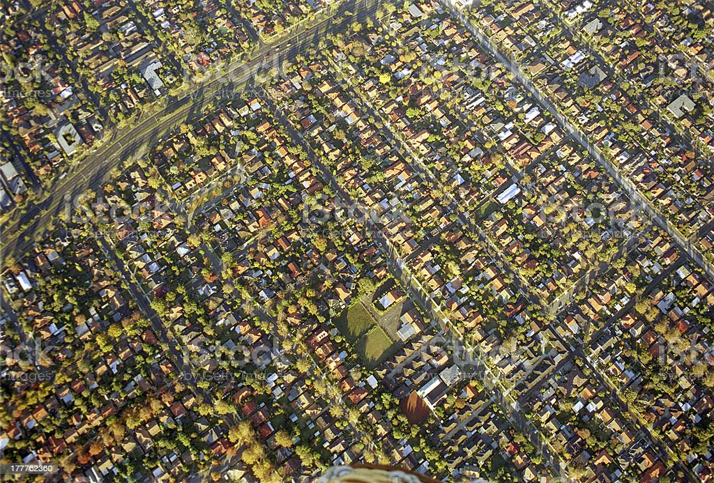 Colorful aerial view of suburbs of Melbourne, Australia royalty-free stock photo