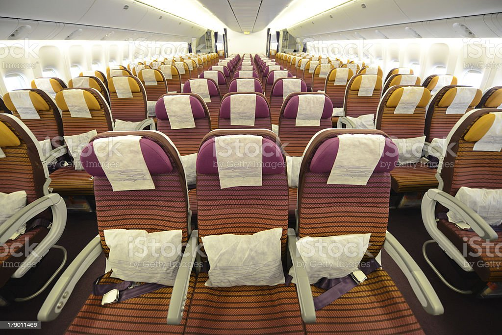 colorful aircraft seat interior , front side royalty-free stock photo