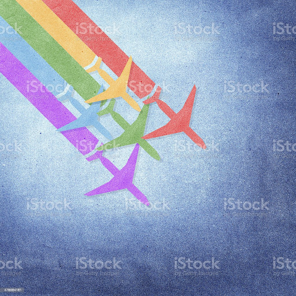 Colorful Airplanes on grunge paper background stock photo