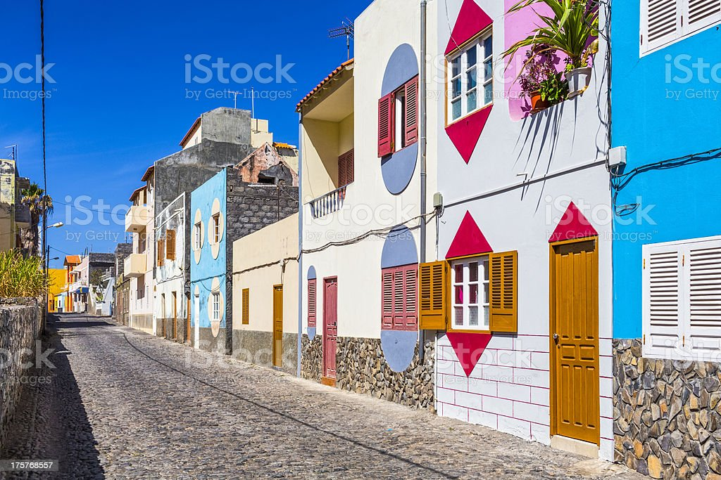Colorful alley on Cape Verde stock photo