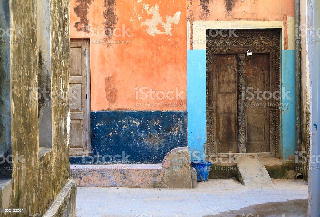 Colorful Alleyway in Stone Town, Zanzibar stock photo