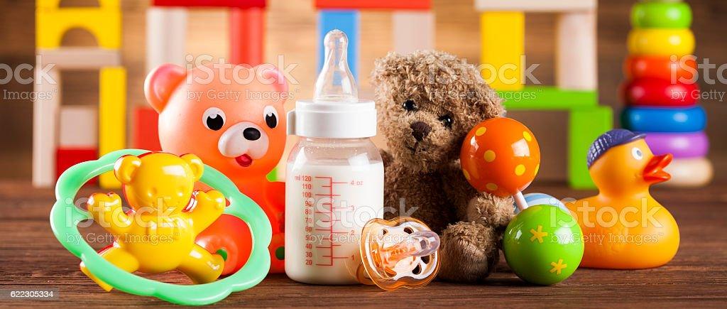 Colorful alphabet blocks, baby toy stock photo