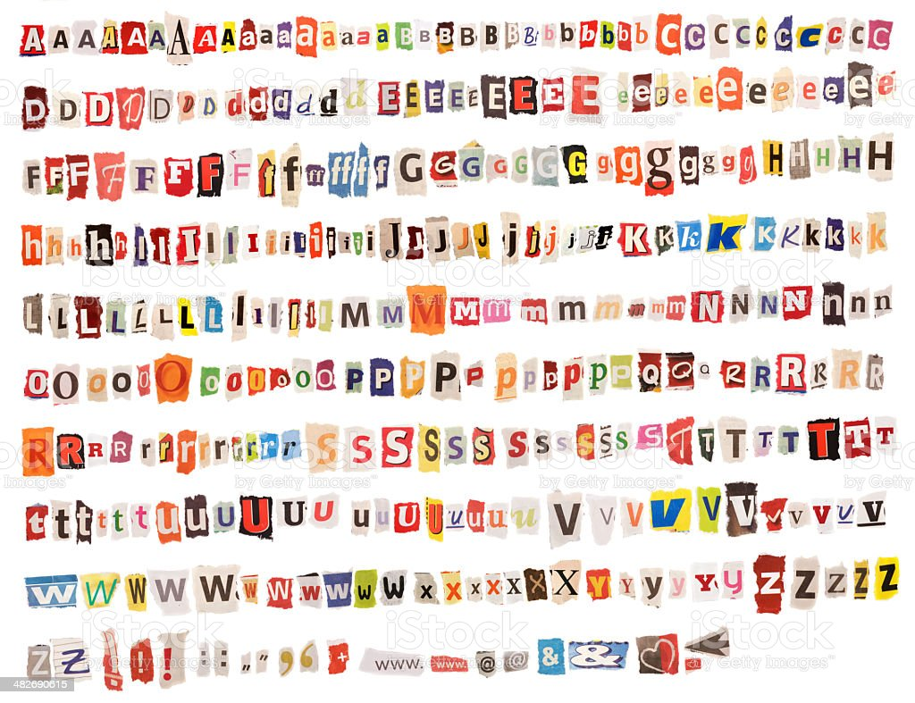 Colorful Alphabet – from Newspapers and Magazines royalty-free stock photo