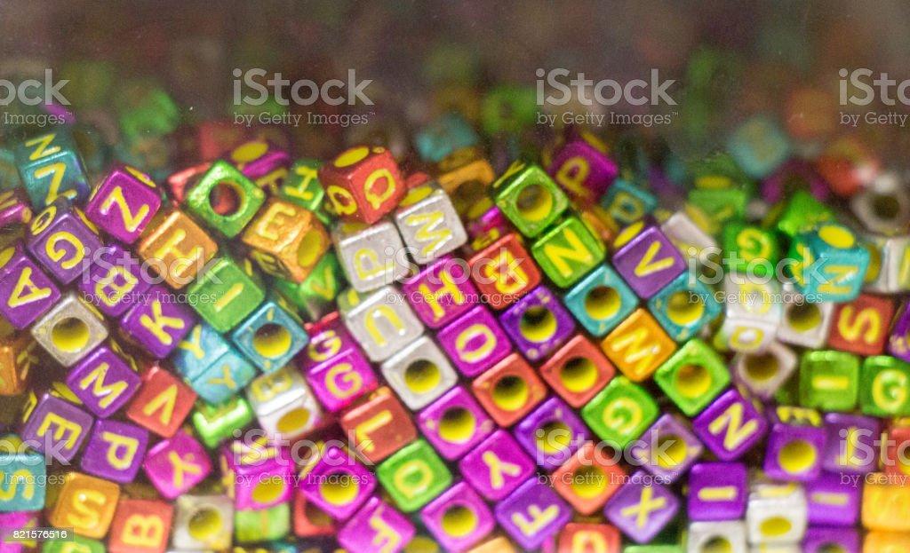 Colorful alphabet letter cubes stock photo