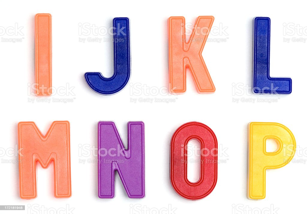Colorful alphabet refrigerator magnets royalty-free stock photo