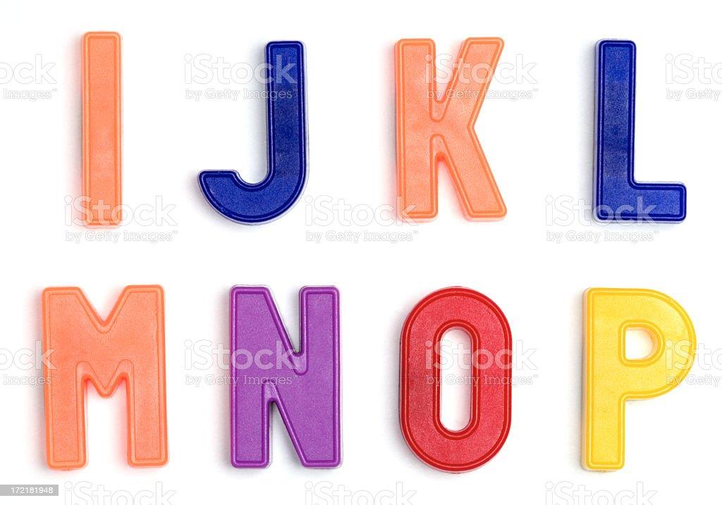 Colorful alphabet refrigerator magnets stock photo