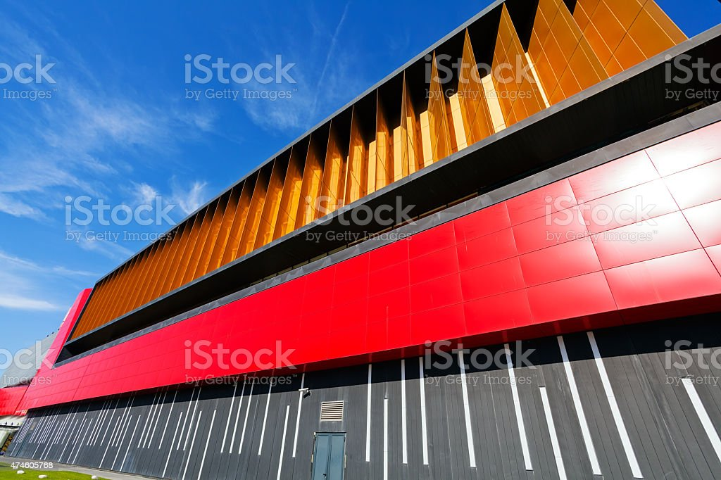 colorful aluminum facade on large shopping mall stock photo