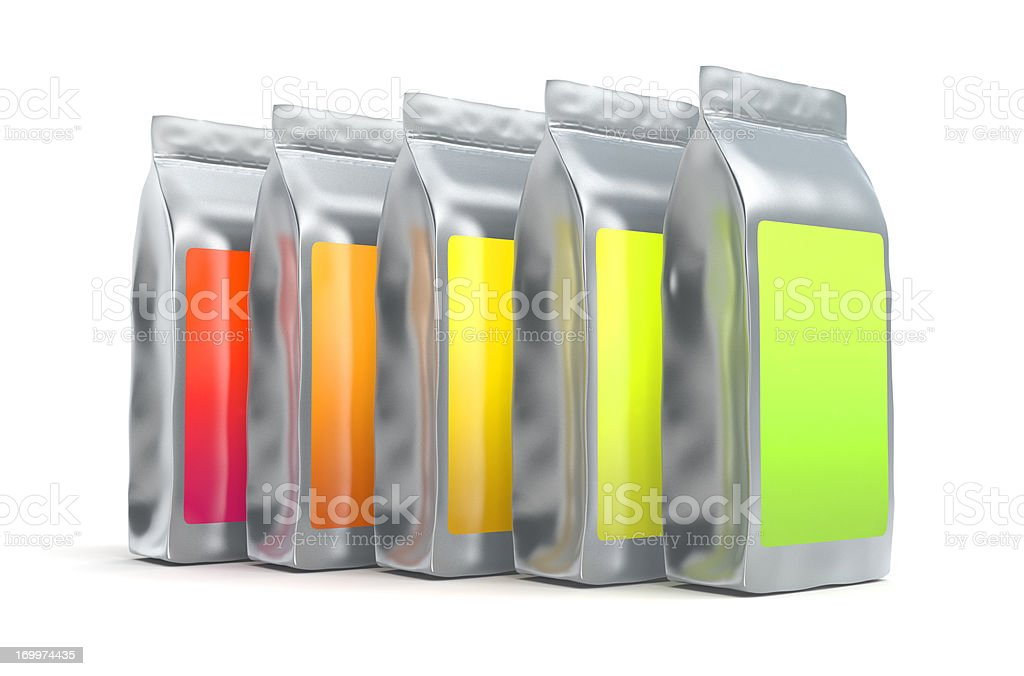 Colorful aluminum foil bag packaging stock photo