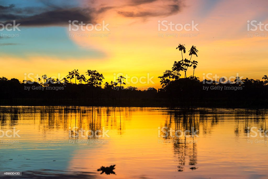 Colorful Amazonian Sunset stock photo