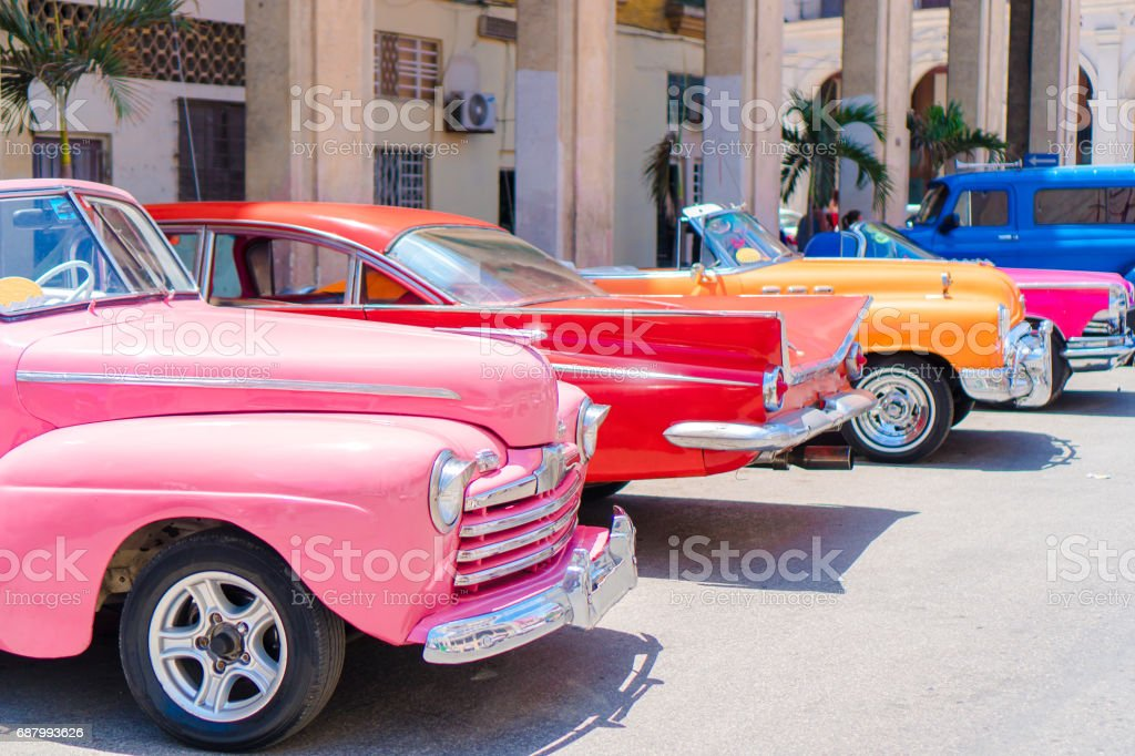 Colorful american classic car on the street in Havana, Cuba stock photo