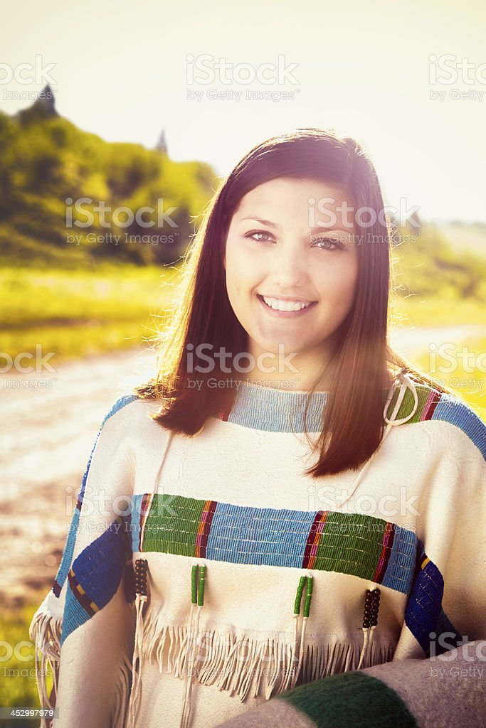 Colorful American Indian Maiden stock photo