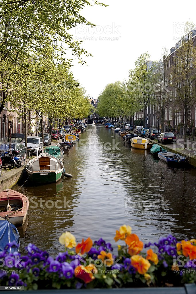 Colorful Amsterdam Canal in Spring royalty-free stock photo